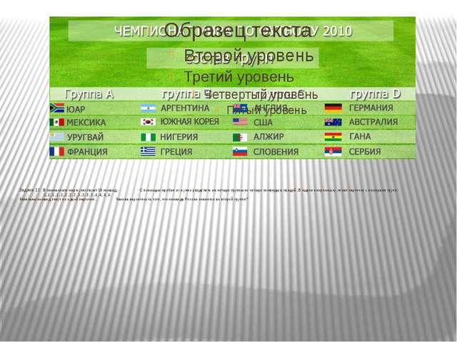 Задача 11. В чемпионате мира участвуют 16 команд. С помощью жребия их н...