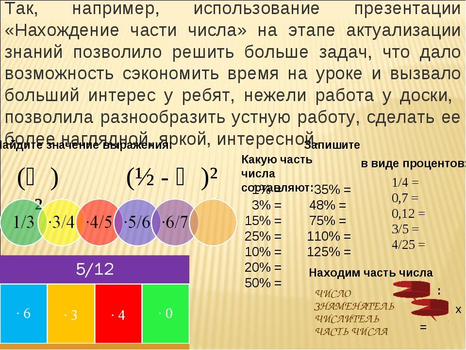 Так, например, использование презентации «Нахождение части числа» на этапе ак...