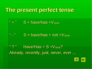 """The present perfect tense """" + """" S + have/has +V3(ed). """" - """" S + have/has + no"""