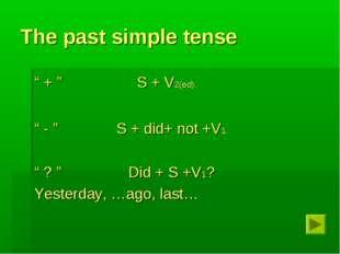 "The past simple tense "" + "" S + V2(ed). "" - "" S + did+ not +V1. "" ? "" Did + S"