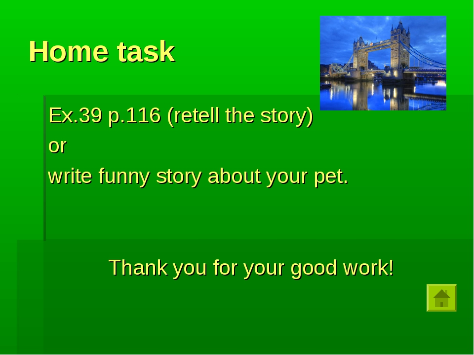 Home task Ex.39 p.116 (retell the story) or write funny story about your pet....