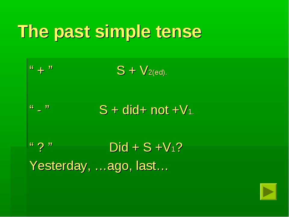 "The past simple tense "" + "" S + V2(ed). "" - "" S + did+ not +V1. "" ? "" Did + S..."