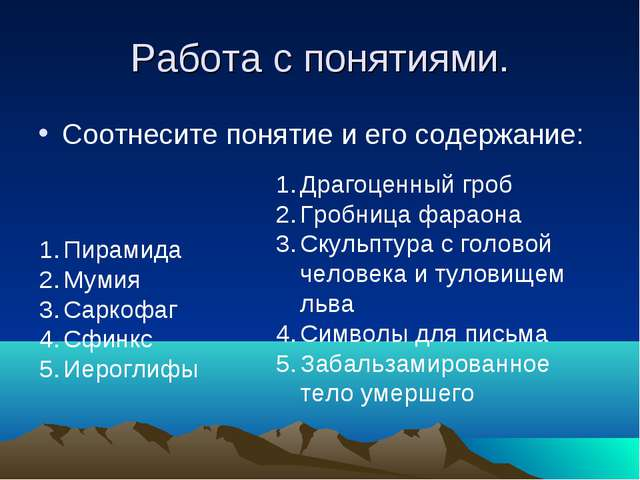 Работа с понятиями. Соотнесите понятие и его содержание: Пирамида Мумия Сарко...