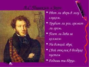 А.С.Пушкин «Эхо» Рвет ли зверь в лесу глухом, Трубит ли рог, гремит ли гром,