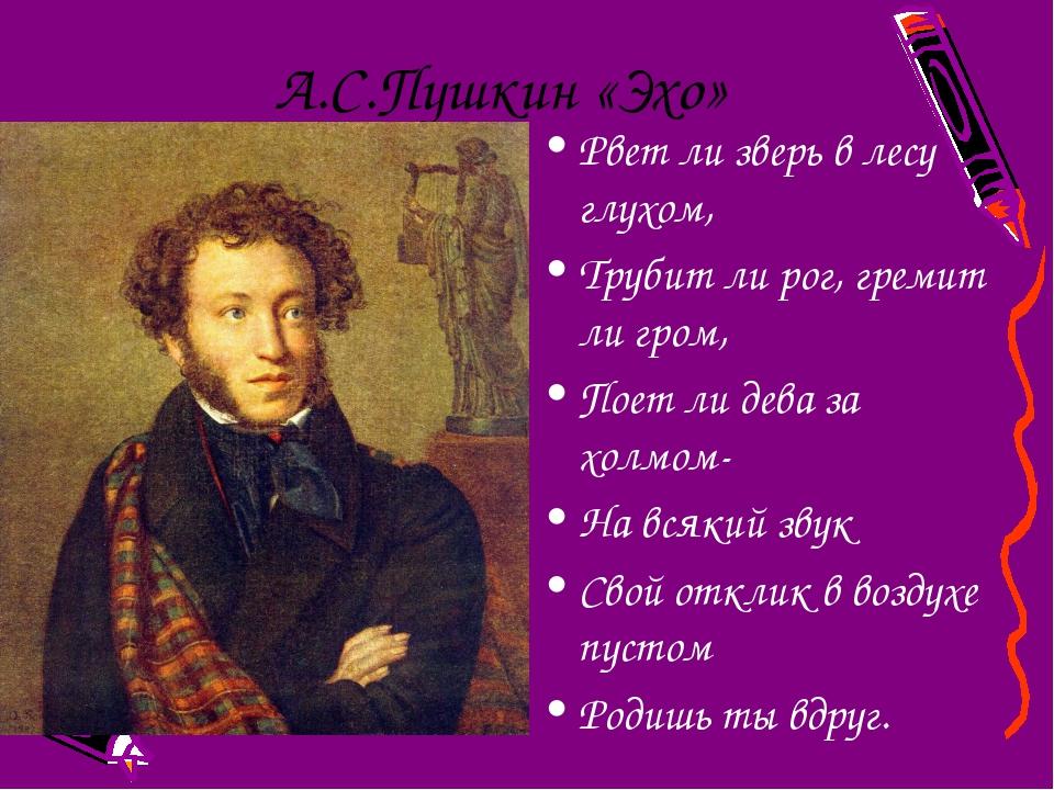 А.С.Пушкин «Эхо» Рвет ли зверь в лесу глухом, Трубит ли рог, гремит ли гром,...