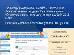 Презентация собственного педагогического опыта Публикация материала на сайте