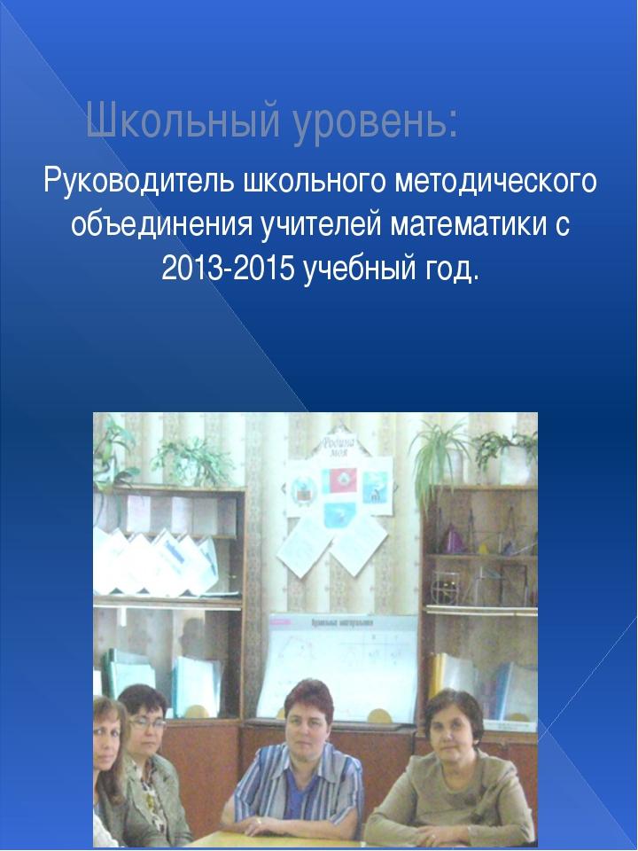Школьный уровень: Руководитель школьного методического объединения учителей м...