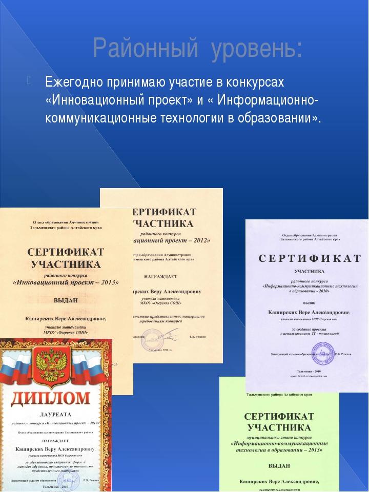 Районный уровень: Ежегодно принимаю участие в конкурсах «Инновационный проект...