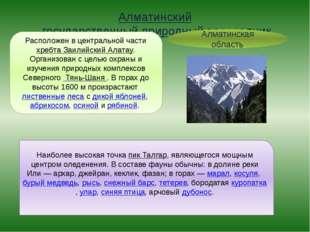 Алматинский государственный природный заповедник Алматинская область Располож