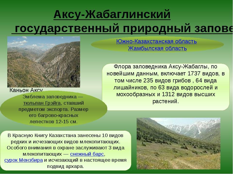 Аксу-Жабаглинский государственный природный заповедник Каньон Аксу Флора запо...
