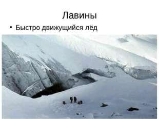 Лавины Быстро движущийся лёд