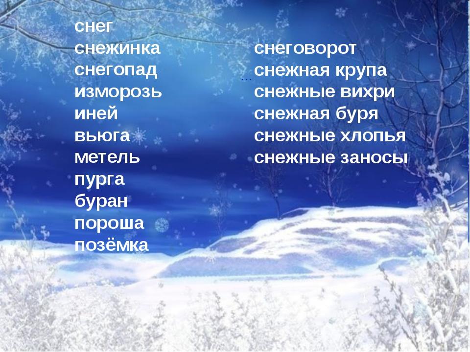 снег снежинка снегопад изморозь иней вьюга метель пурга буран пороша позёмка...