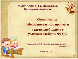 МБОУ СОШ № 1 г. Михайловки Волгоградской области Организация образовательного
