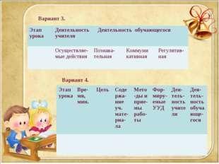 Вариант 3. Вариант 4. Этап урокаДеятельность учителя Деятельность обучающег