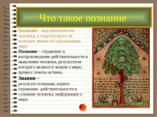Познание – вид деятельности человека, в ходе которого он получает знание об о