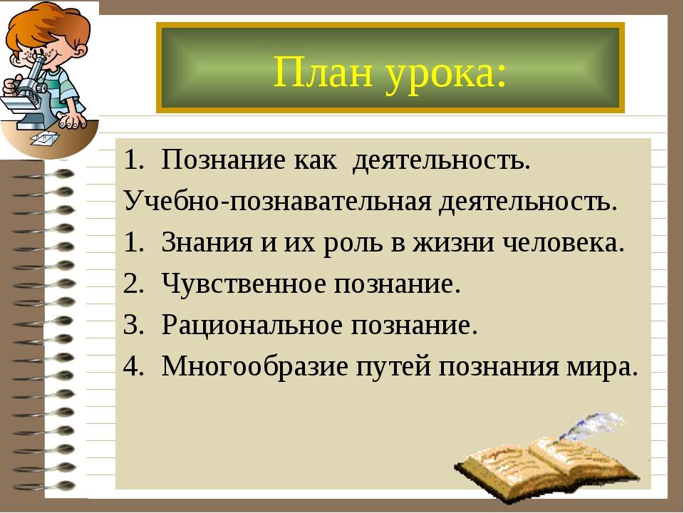 Познание как деятельность. Учебно-познавательная деятельность. Знания и их ро...