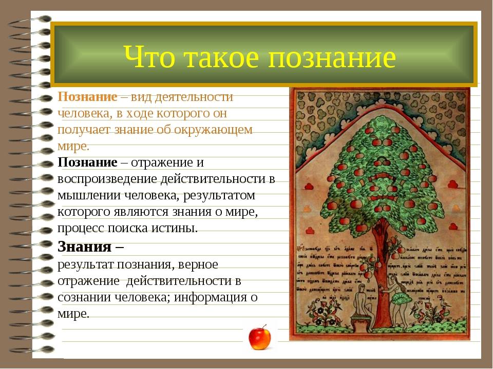 Познание – вид деятельности человека, в ходе которого он получает знание об о...