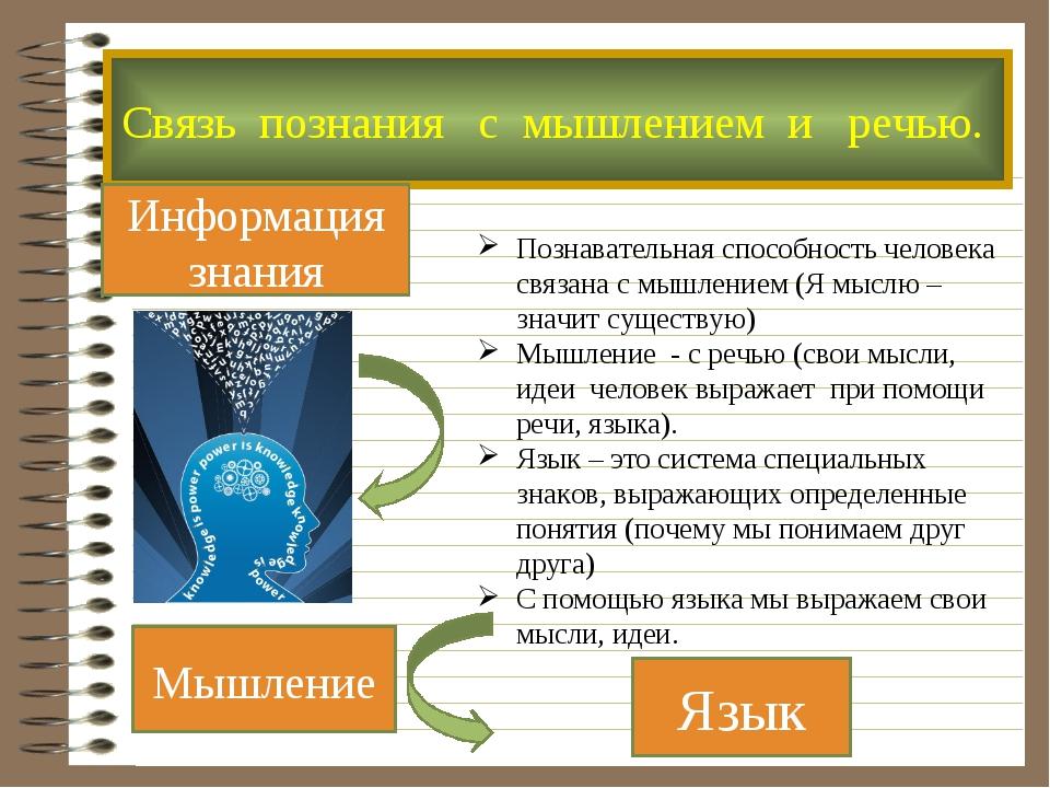 Язык Мышление Познавательная способность человека связана с мышлением (Я мысл...