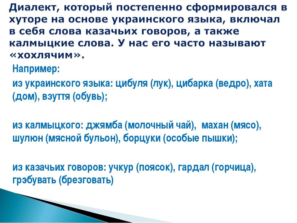 Например: из украинского языка: цибуля (лук), цибарка (ведро), хата (дом), вз...