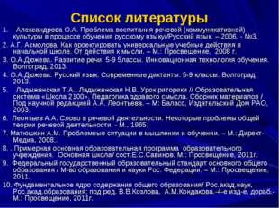 Список литературы 1. Александрова О.А. Проблема воспитания речевой (коммуника