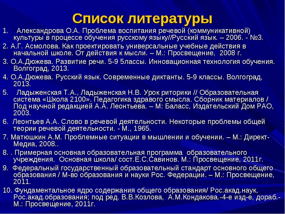 Список литературы 1. Александрова О.А. Проблема воспитания речевой (коммуника...
