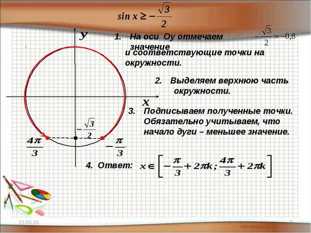 * * На оси Оу отмечаем значение и соответствующие точки на окружности. Выделя...