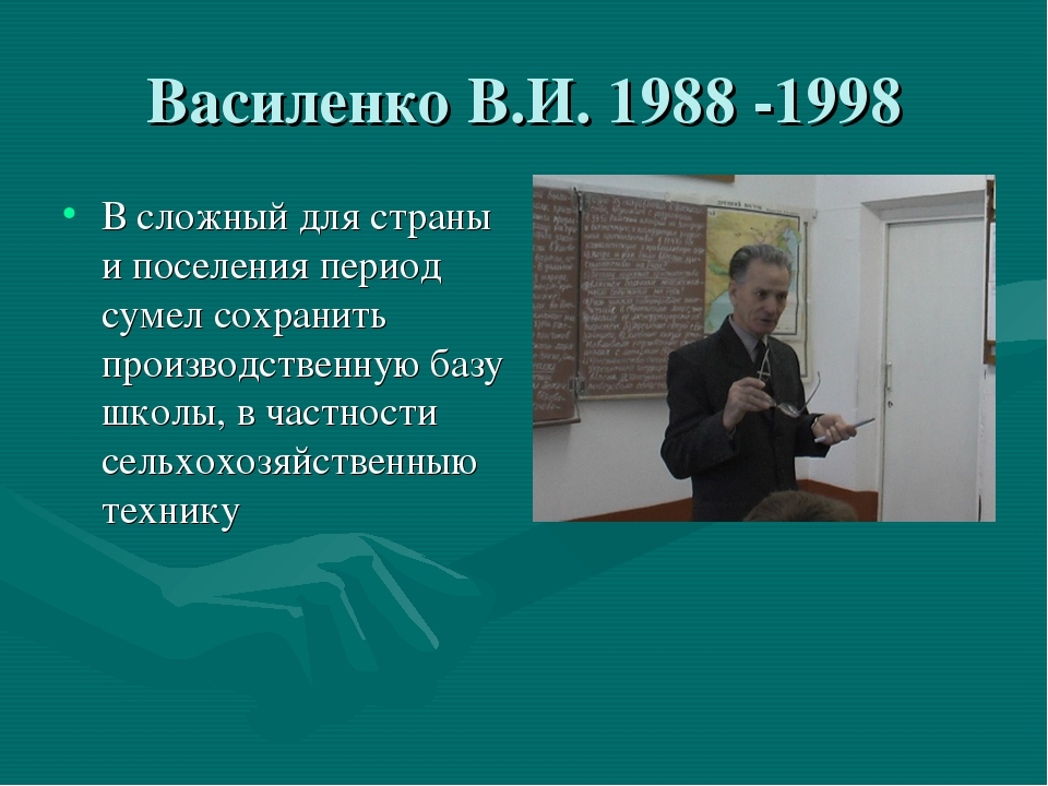 Василенко В.И. 1988 -1998 В сложный для страны и поселения период сумел сохра...
