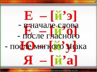 Ё – [й'о] Ю – [й'у] Я – [й'а] Е – [й'э] в начале слова - после гласного - пос