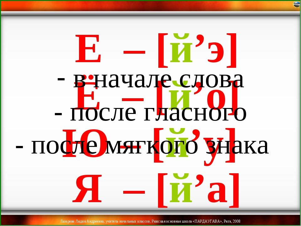 Ё – [й'о] Ю – [й'у] Я – [й'а] Е – [й'э] в начале слова - после гласного - пос...