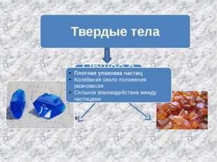 Плотная упаковка частиц Колебания около положения равновесия Сильное взаимод