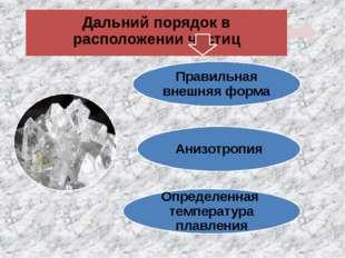 Правильная внешняя форма Анизотропия Определенная температура плавления