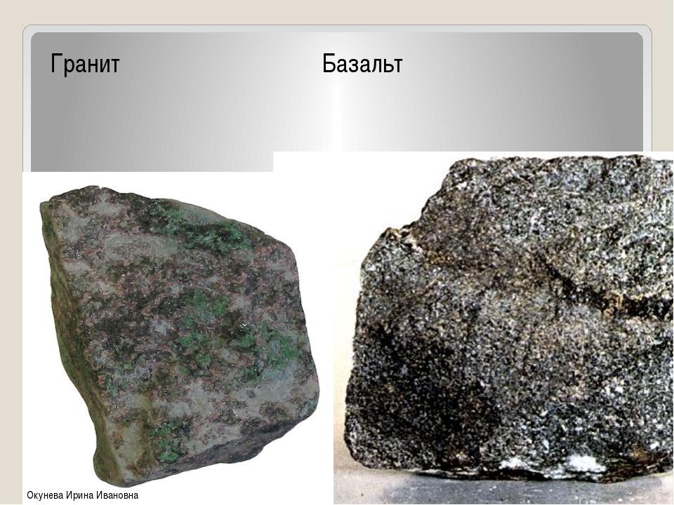 Магматические Гранит Базальт Окунева Ирина Ивановна