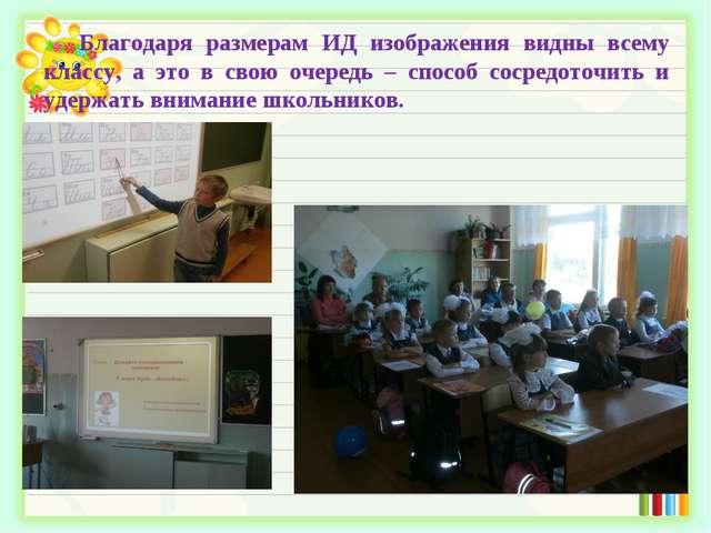 Благодаря размерам ИД изображения видны всему классу, а это в свою очередь –...