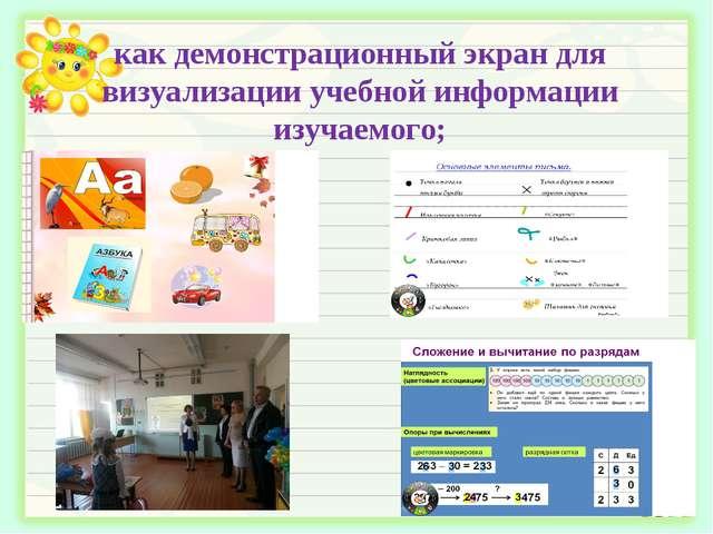 как демонстрационный экран для визуализации учебной информации изучаемого;