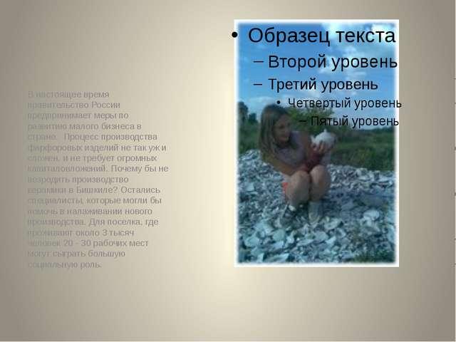 В настоящее время правительство России предпринимает меры по развитию малого...