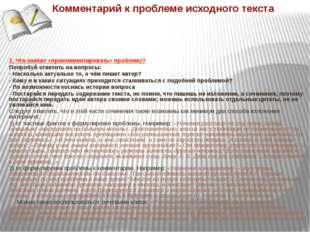 Комментарий к проблеме исходного текста 2. Что значит «прокомментировать» пр