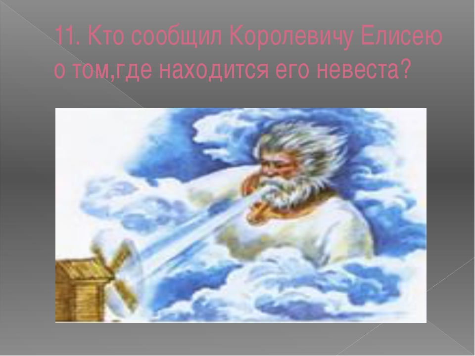 11. Кто сообщил Королевичу Елисею о том,где находится его невеста?