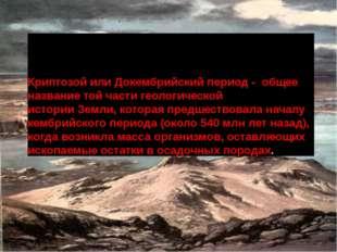 Криптозой или Докембрийский период - общее название той части геологической