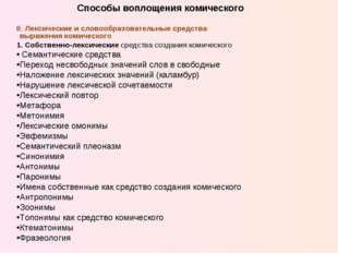 II. Лексические и словообразовательные средства выражения комического 1. Собс