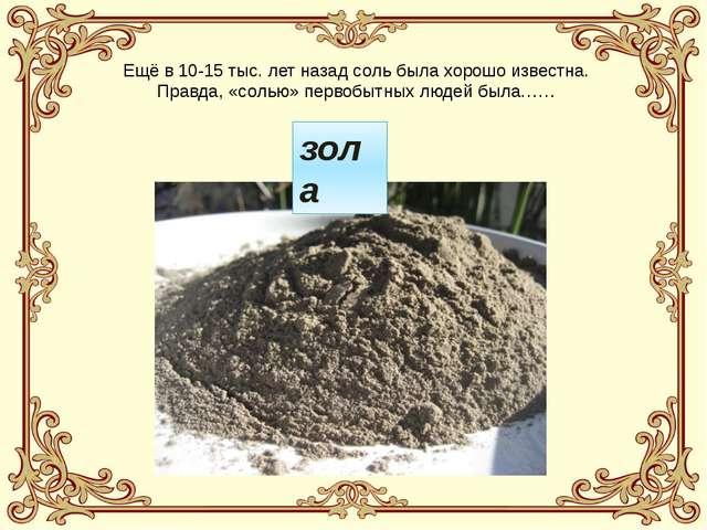 Ещё в 10-15 тыс. лет назад соль была хорошо известна. Правда, «солью» первобы...