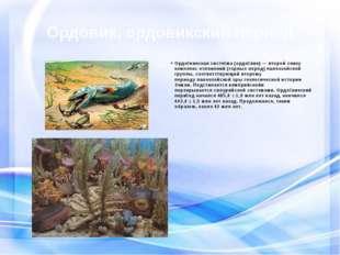Ордовик, ордовикский период Ордо́викская систе́ма(ордо́вик) — второй снизу к