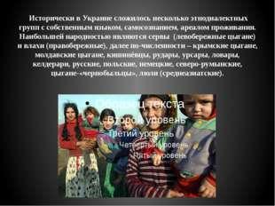 Исторически в Украине сложилось несколько этнодиалектных групп с собственным