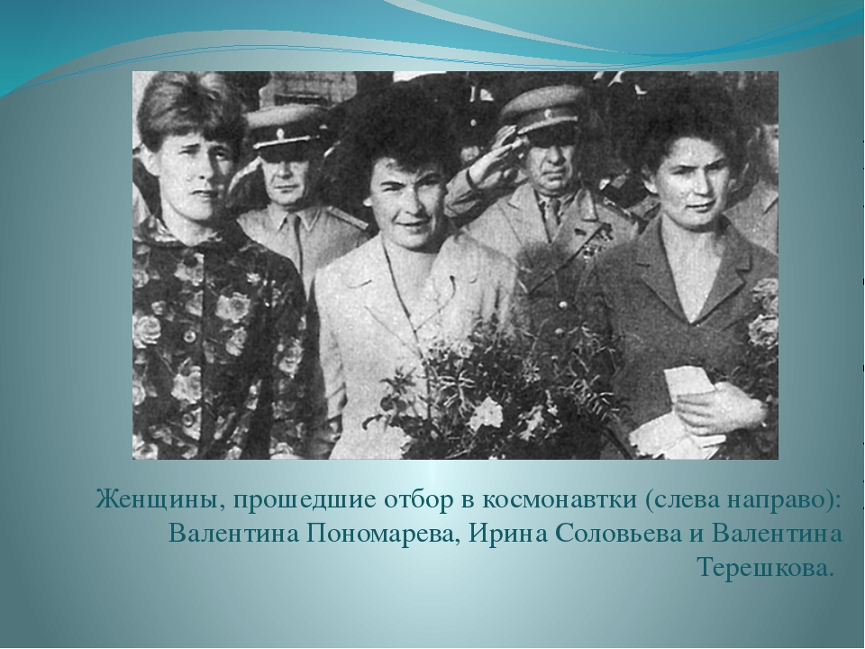 Женщины, прошедшие отбор в космонавтки (слева направо): Валентина Пономарева,...