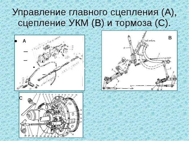Управление главного сцепления (A), сцепление УКМ (B) и тормоза (C). C A B