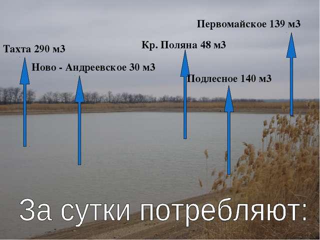 Тахта 290 м3 Ново - Андреевское 30 м3 Кр. Поляна 48 м3 Подлесное 140 м3 Перво...