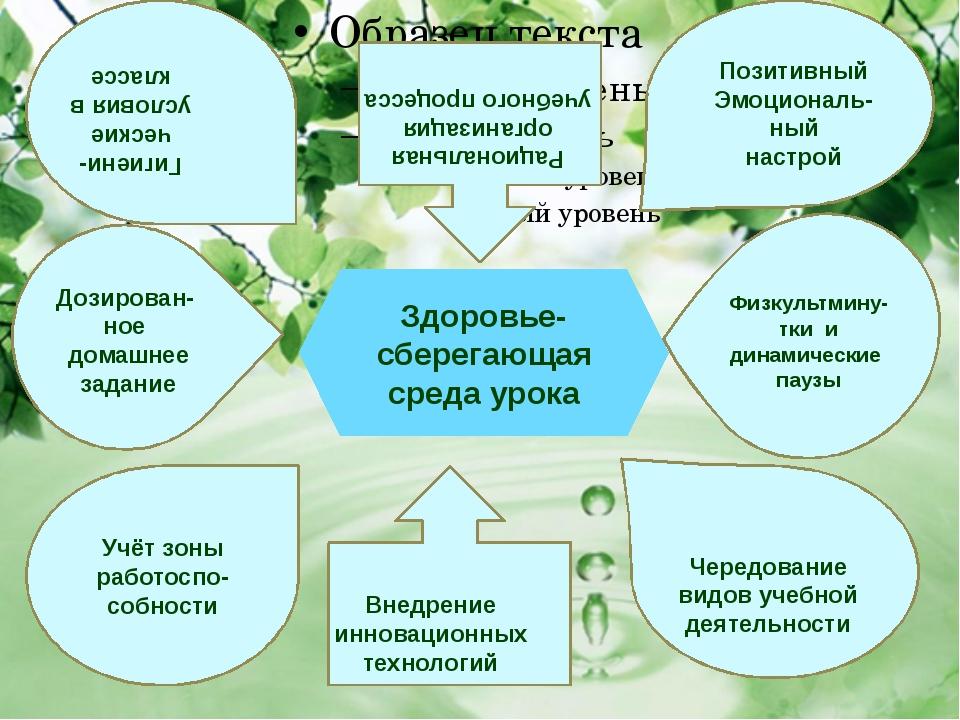 Здоровье-сберегающая среда урока Рациональная организация учебного процесса...