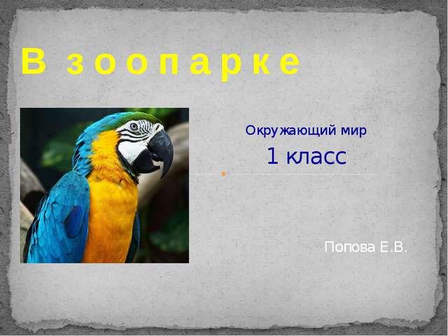 Окружающий мир 1 класс В з о о п а р к е Попова Е.В.