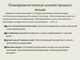 Психофизиологической основой процесса письма является совместная работа четы