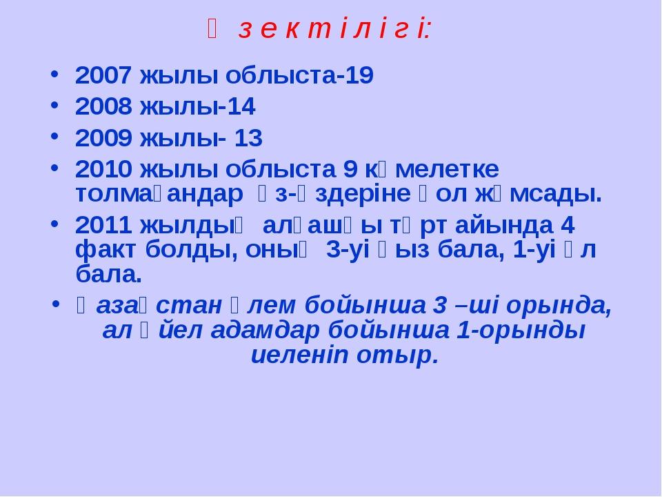 Ө з е к т і л і г і: 2007 жылы облыста-19 2008 жылы-14 2009 жылы- 13 2010 жыл...
