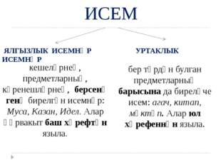 ИСЕМ ЯЛГЫЗЛЫК ИСЕМНӘР УРТАКЛЫК ИСЕМНӘР кешеләрнең, предметларның, күренешләр